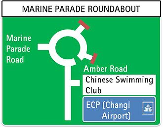 Road signs in Singapore - Image: Sing signroundabout