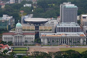City Hall, Singapore - Aerial view of the old Supreme Court building (foreground left), new Supreme Court building (middle) and City Hall (foreground right).