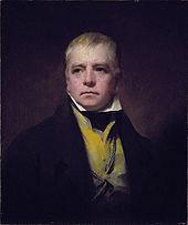 Homme en buste peint de face sur fond sombre. Veste noire et gilet jaune. Cheveux blonds. Yeux bleus au regard intense.