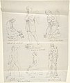 "Sketches of Six Statues- ""Magdalene by Canova,"" ""Divine Love,"" ""Angelo Pregniera,"" ""Boxer by Canova,"" ""Confidence in God by Bartolini,"" and ""Madonna by Raphael"" MET DP804251.jpg"