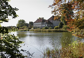 Skjoldenæsholm Castle - The oldest, timber-framed part of the building as seen from the east across the lake