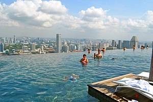 Infinity pool - The Marina Bay Sands SkyPark Infinity Pool in Singapore, viewed from the poolside
