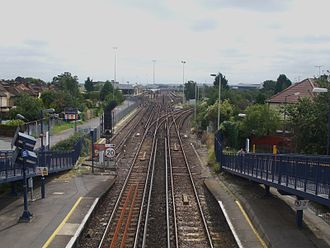 Slade Green Depot - View from Slade Green railway station looking east towards Dartford from the footbridge, with Slade Green Depot visible ahead