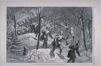 Mount Royal - Night procession by the Montreal Snow Shoe Club on Mount Royal, 1873.