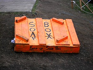 English: A soapbox at Occupy Boston