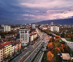 View of Bunevgrad looking down Petar Krasimirov Bunev Boulevard