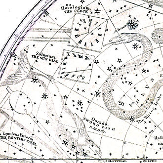 Solarium (constellation) - An image depicting the location of the now obsolete constellation of Solarium from an atlas published in 1838.