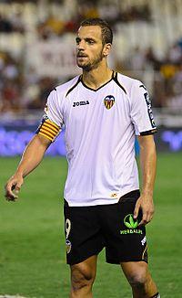 Spanish national footballer Roberto Soldado gives a press ...