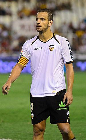Roberto Soldado - Soldado playing for Valencia in August 2011