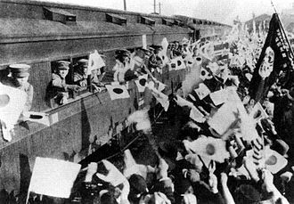 History of rail transport in Japan - Soldiers leaving home by train