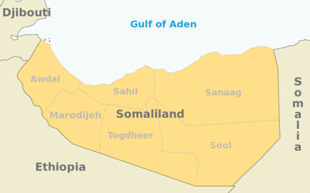 Map of Somaliland showing locations Somaliland map regions.png