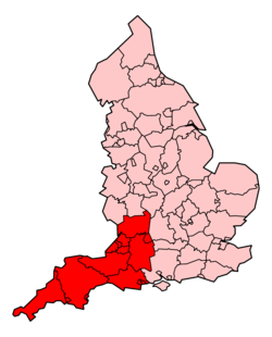 Regions served by South Western Ambulance Service