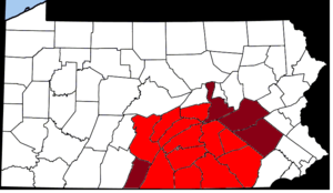 Regions of Pennsylvania - Counties constituting the South Central region of Pennsylvania
