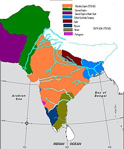 Political Map of South Asia around 1758 AD