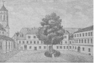 South Slavic Bible Institute - The seat of the South Slavic Bible Institute: 1910 drawing of the castle (former convent) of Amandenhof