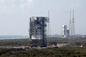 Cape Canaveral Air Force Station Space Launch Complex 40 - Space Launch Complex 40 with Titan rocket mobile service tower in 2008, prior to demolition to prepare for the construction of the SpaceX Falcon launch pad.