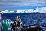 Spectacular Christmas morning cruise through the remants of giant Tabular iceberg B15Y, which is now grounded just off Bransfield Island at the N tip of the Antarctic Peninsula. (25371175273).jpg
