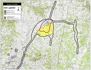 Battle of Spring Hill - Map of Spring Hill Battlefield core and study areas by the American Battlefield Protection Program.