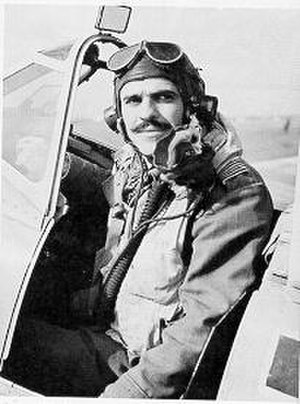 Lance C. Wade - Lance Wade pictured in the cockpit of his Spitfire Mk VIII, Triolo Airfield, Italy, November 1943