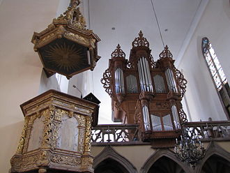 St William's Church, Strasbourg - Saint William's pulpit and pipe organ