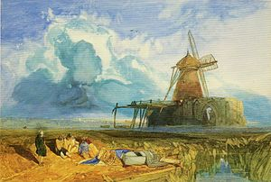 History of Norfolk - St Benet's Abbey, in a painting by John Sell Cotman (1783–1842). It was one of Norfolk's first monasteries and the only one in England to survive the Dissolution of the Monasteries in the 1530s.