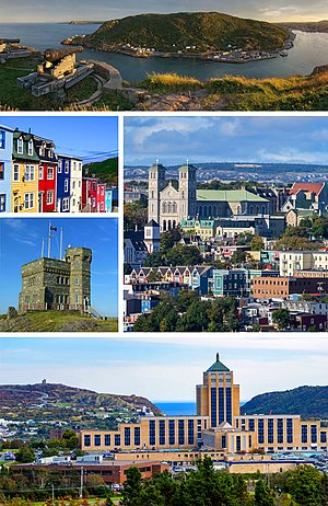 Clockwise from top: Sunset from Signal Hill, the Basilica of St. John the Baptist, the Confederation Building, Cabot Tower on Signal Hill, Row Houses