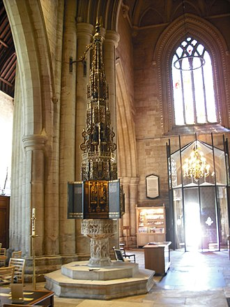 St Wulfram's Church, Grantham - The font, with cover by Sir Walter Tapper