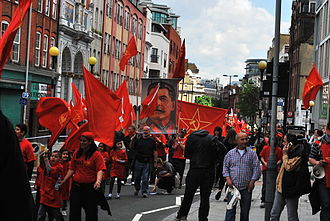 Neo-Stalinism - May Day procession with Joseph Stalin's portrait in London, 2010