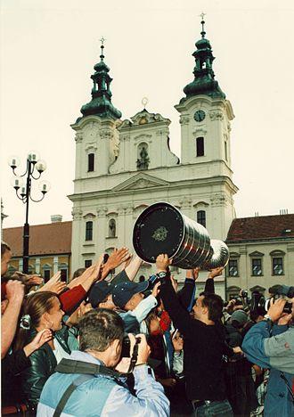 Ladislav Kohn - Kohn with the Stanley Cup in his hometown of Uherské Hradiště.