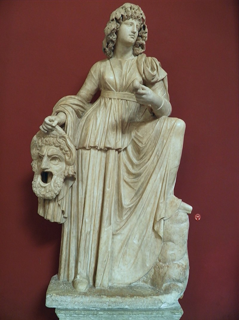 Statue of Melpomene, Muse of Tragedy, found at the Villa of Cassius at Tivoli, Hadrianic period (AD 117-138), Vatican Museums (9641176799).jpg