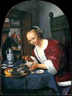 <i>The Oyster Eater</i> c.1658-1660 small oil on panel painting by Jan Steen