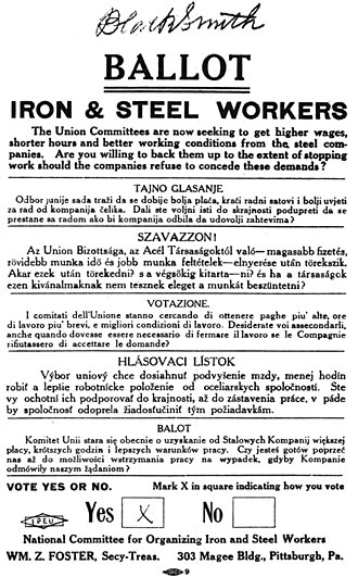Steel strike of 1919 - Union voting ballot for whether to go on strike.