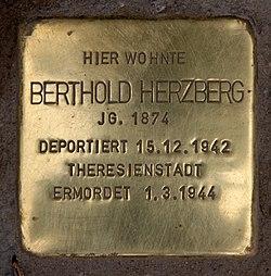 Photo of Berthold Herzberg brass plaque