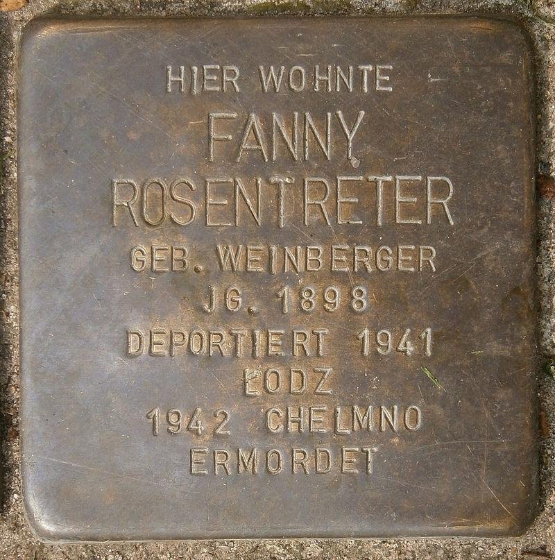 Stolperstein Behnstraße 17 (Fanny Rosentreter) in Hamburg-Altona-Altstadt.JPG
