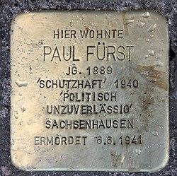 Photo of Paul Wilhelm Fürst brass plaque