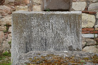 Hadrian's Library - Image: Stone inscription inside the Library of Hadrian honouring Hadrian, Athens, Greece (13891392542)