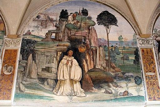 Il Sodoma, Storie di San Benedetto, Come uno prete ispirato da Dio porta da mangiare a Benedetto nel giorno di Pasqua