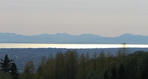 Strait of Georgia - Strait of Georgia from Burnaby Mountain, with Galiano Island and Vancouver Island in the distance