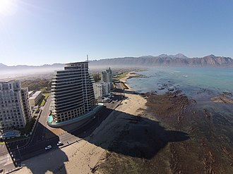 Strand, Western Cape - A low altitude aerial view of the Strand Beachfront.