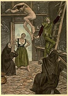 "A painting from the fairy tale ""The Facetious Nights of Straparola"", showing people observing as a person jumps inside a building."