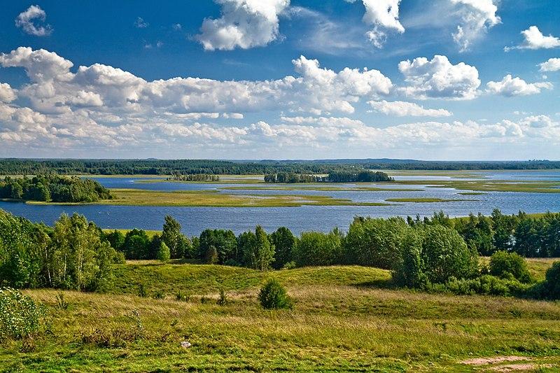 Strusta Lake. View from Majak hill. Brasłau district, Viciebsk province, Belarus.