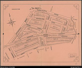 Summer Hill, New South Wales - 1878 subdivision plan covering the northern half of the suburb.