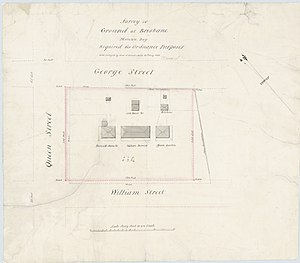 Early Streets of Brisbane - Plan of the Soldiers Barracks, bounded by Queen, George and William Streets