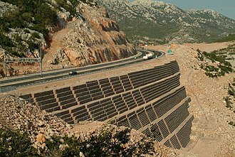 Rock mechanics - Reinforced earth with gabions supporting a multilane roadway, Sveti Rok, Croatia.
