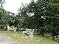 Szaplonczay Promenade's stone benches in Fonyód, 2016 Hungary.jpg