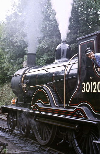 LSWR T9 class - September 1986 at Alresford on the Mid Hants Railway.