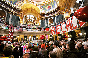 Wisconsin gubernatorial recall election - Protests in the Capitol, February 14, 2012