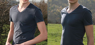 Undershirt - Example of t-shirt undershirt, usually not worn as outwear
