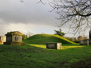 Taplow burial - The burial mound amongst more recent tombs