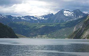 Tafjorden - View of Fjørå along Tafjorden